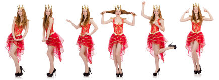 Queen in red dress isolated on white Stock Photography