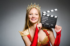 Queen in red dress Royalty Free Stock Photography