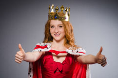 Queen in red dress Royalty Free Stock Image