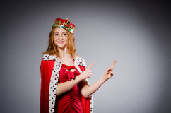Queen in red dress Stock Images