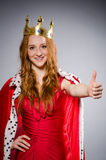 Queen in red dress Royalty Free Stock Images