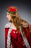 Queen in red dress Stock Photography