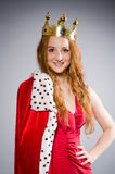 Queen in red dress Royalty Free Stock Photo