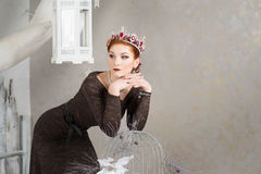 Queen, royalty person with crown. Fashion, elegant woman Stock Photo