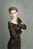 Queen, royalty person with crown. Fashion, elegant woman Stock Images