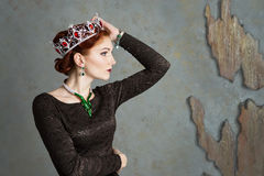 Queen, royalty person with crown. Fashion, elegant woman stock image