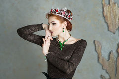 Queen, royalty person with crown. Fashion, elegant woman Stock Photography