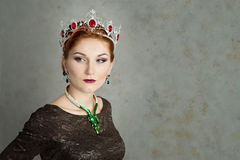 Queen, royalty person with crown. Fashion, elegant woman Royalty Free Stock Images