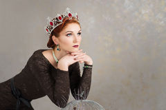 Queen, royalty person with crown. Fashion, elegant woman royalty free stock photography