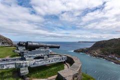 Queen`s Artillery Battery on Signal Hill, St. John`s Newfoundland. stock image