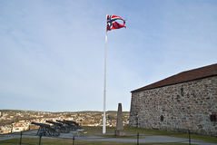 Queen's bastion. Bastion was constructed in the first construction period at Fredriksten 1661-1671. This is also the fortress flag place Stock Photo