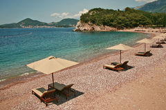 The Queen& x27;s beach of Sveti Stefan. The Queen's Beach, separated from Miločer by a little forested hill, offers similar exclusivity for just €50 per Stock Photo