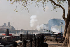 Queen's Birthday Gun Salute, Tower of London Royalty Free Stock Photos