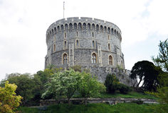 Queen's castle. The round tower fortress of Windsor Castle. Home of Queen Elizabeth II. Windsor, Berkshire, England Royalty Free Stock Photos