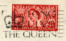 Queen`s Coronation Stamp and `Long Live The Queen` Postmark. UNITED KINGDOM, CIRCA 1953: A vintage British postage stamp celebrating the Coronation of Queen Royalty Free Stock Photos