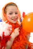 Queen's day. Young girl is posing in orange with balloon and flag, isolated on white background stock photography