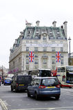 Queen's diamond Jubilee decoration and preparation. LONDON, UK, Friday June 1, 2012. The Ritz Hotel is decorated for the Queen's Diamond Jubilee royalty free stock image