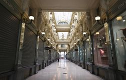 The Queen`s gallery occupy the northern half of the Saint-Hubert Royal Galleries, a complex of glazed shopping arcades royalty free stock image