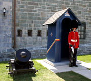 Queen's Guard. Standing to attention outside the old fort in Quebec City, Canada Stock Image