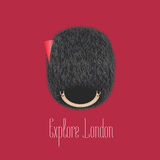 Queen`s guard, beefeater traditional hat  illustration. Concept design for travel to London, UK Stock Photo