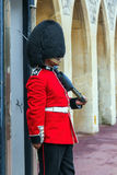 Queen's Guard  preparing to be on duty  inside Windsor castle Royalty Free Stock Photo