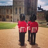 Queen Guards at Windsor, London, England stock photo