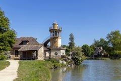 Queen's Hamlet, small village around Big Lake at Versailles Royal palace next to Small Trianon stock photos