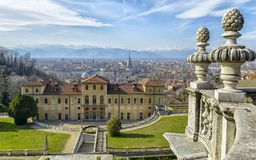 Queen`s House in Torino Turin Italy Piedmont. View from his garden of Queen`s House in Torino, Piedmont, Italy with the cityscape behind stock photo