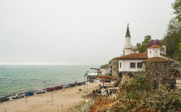 Queen's Mary of Romania Castle in Balchik. Mysterious foggy day at the Bulgarian Black Sea, at Balchik. Queen's Mary of Romania Castle in Balchik stock photos