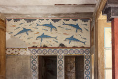 Queen s Megaron. Palace of Knossos, Crete, Greece Stock Photo