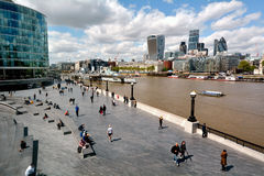 The Queen's South Bank Walk London UK. LONDON -  MAY 14 2015:Aerial view of Queen's South Bank Walk London.It's a sightseeing walk for tourists and visitors Stock Photography