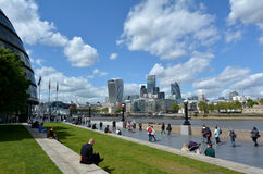 The Queen's South Bank Walk London UK. LONDON -  MAY 14 2015:The Queen's South Bank Walk London.It's a sightseeing walk for tourists and visitors that follows Royalty Free Stock Image