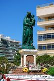 Queen of the Seas statuette, Fuengirola, Spain. Hail Queen of the seas statuette (Salve Reina de los mares) along the seafront, Fuengirola, Costa del Sol Stock Image