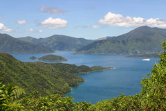 Queen Sharlotte Sound, New Zealand. Queen Sharlotte Sound, Marlborough Sounds, New Zealand Stock Photo