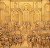 Queen of Sheba and King Solomon, Gates of Paradise, Baptistry of Florence Cathedral. Baptistry of Saint John, Gates of Paradise, Queen of Sheba and King Solomon Royalty Free Stock Photo