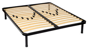 Queen sized orthopedic bed with metal frame. And strong elastic bands against a white background Stock Photo