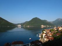 Queen and small baroque town of Perast Royalty Free Stock Photos