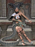 Queen of snakes. Beautiful girl with big fantasy snake Royalty Free Stock Photos