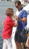 Queen Sofia and son King Felipe of spain during summer holidays in mallorca Stock Photography