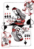 The queen of spades. Directs damage on hated  the lady of hearts Royalty Free Stock Images