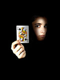 The queen of spades. In his hand girl Royalty Free Stock Images