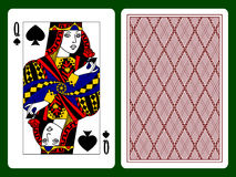 Queen of Spades. Playing card and the backside background. There is in addition a vector format Stock Photos