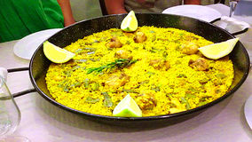 The Queen of Spain. A delicious paella on a table of Spain Stock Photo