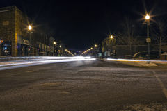 Queen Street Downtown. Queen Street, Sault Ste. Marie, Ontario at night, long exposure Royalty Free Stock Image