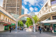Queen Street Mall in Brisbane. BRISBANE, AUSTRALIA - MAY 20 : Visitors at Queen Street Mall.It is a pedestrian mall with more than 700 retailers on May 20, 2017 Royalty Free Stock Photography