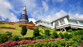 Queen stupa at the peak of Doi Inthanon. Napapon Phoom-siri Chedi - a temple dedicated to the Queen of Thailand commemorating her 60th birthday near the summit royalty free stock photo