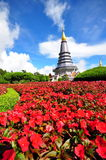 Queen stupa at the peak of Doi Inthanon. Napapon Phoom-siri Chedi - a temple dedicated to the Queen of Thailand commemorating her 60th birthday near the summit royalty free stock image