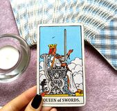 Queen of Swords Tarot Card Honesty Truth Principles Standards Clinical Sterile Reserved Detached Aloof Cool Private Sever. Queen of Swords Tarot Card royalty free illustration