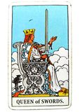 Queen of Swords Tarot Card Honesty Truth Principles Standards Clinical Sterile Reserved Detached Aloof Cool Private Sever. Queen of Swords Tarot Card royalty free stock image