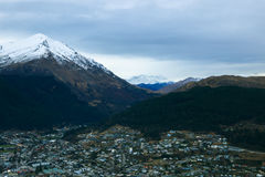 Queen town south island new zealand from plane window Stock Photography